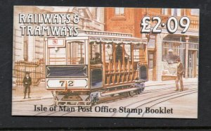 Isle of Man Sc 356a 356b b panes in complete £2.09 train stamp booklet mint NH