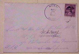 US GUAM  NOV 1932 TO USA SHIP