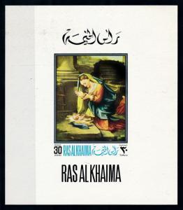 [94210] Ras al Khaimah 1968 Art Painting Maria Child Imperf. Single Sheet MNH