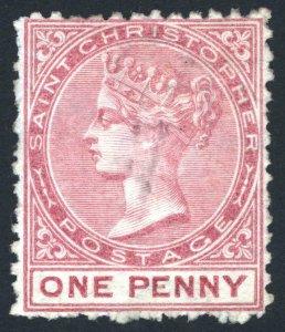St Christopher 1870 1d Dull Rose WMK CC SIDEWAYS SG 1a Sc 1var UN Cat £225($288)