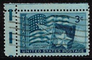 US STAMP #938 – 1945 3c Texas Statehood USED GUTTER SNIPE ERROR