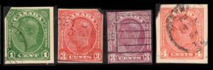 CANADA 1938 POSTAL STATIONERY #U50 U53 U54 U67 , 4 SCARCE CUT SQUARES (V077)