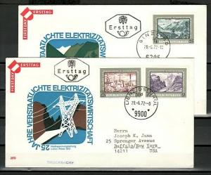 Austria, Scott cat. 923-925. Electricity & Power Industry. 2 First day covers. ^