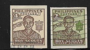 PHILIPPINES, 528-529, MINT HINGED, BOY SCOUT