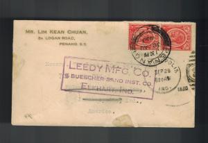 1930 Penang Malaya Commercial Cover to Elkhart Indiana USA Leedy MFg Company