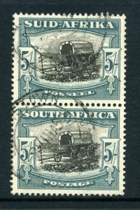 South Africa 1947 KGVI 5/- with FLAW pale blue-green pair SG 122 used