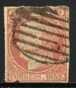Spain 1852 Scott# 12a Used Grill (Parrilla) Cancel thin paper