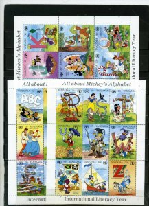 TANZANIA 1990 DISNEY MICKEY'S ALPHABET 3 SHEETS OF 9 STAMPS MNH