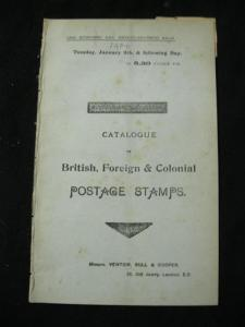 VENTOM BULL & COOPER AUCTION CATALOGUE JAN 1900 with FRENCH COLONIES & AFRICA...