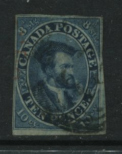 Canada 1857 10d Cartier imperf very scarce and lightly used