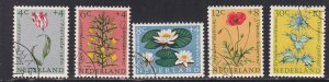Netherlands # B343-347, Flowers, Used, 1/2 Cat.