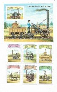 BENIN YEAR 1999 OLD TRAINS LOCOMOTIVES 6 VALUES + SOUVENIR SHEET RAILWAYS MNH