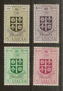 St Lucia 1949 Definitive Top Values SG156-159 mint Cat£31