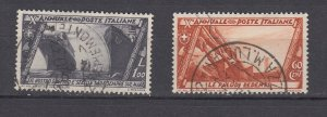 J29703, 1932 various  italy used  #298,300 designs with ships stamp