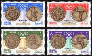 Manama Mi #121A-124A  mnh - 1968 Summer Olympics Mexico gold medal winners