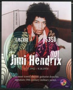 LIBERIA  2016 JIMI HENDRIX SOUVENIR SHEET  MINT NH