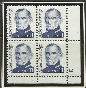 1854 11c Pl# Block MNH VF Centering, mount included
