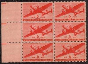 US STAMP BOB AIR MAIL #C25 – 1941 6c Rotary Press BLK OF 6  MNH/OG