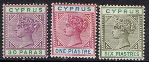 CYPRUS 1894 QV 30PA 1PI AND 6PI