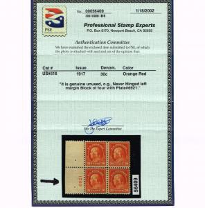 GENUINE SCOTT #516 VF MINT OG NH PSE CERT 1917 30¢ RED ORANGE PNS PLATE #6921