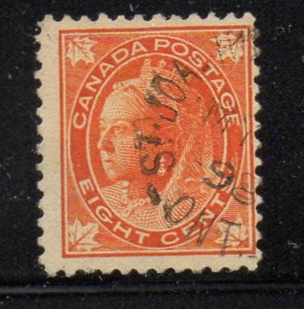 Canada Sc 72 1897 8 c orange Victoria leaf issue stamp used