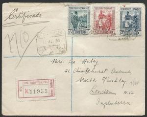 SPANISH GUINEA 1934 Registered cover ex SANTA ISABEL FERNANDO POO.........48317