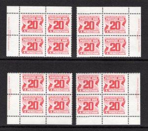 Scott J38, 20c, VF, MNHOG, 4th issue, Set of 4 Plate Blocks of 4,Canada Pos...