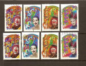 CANADIAN SETS THE CIRCUS (8) USED STAMPS  LOT#142