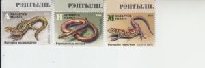 2018 Belarus Lizards & Snakes  (Scott 1106-08) MNH