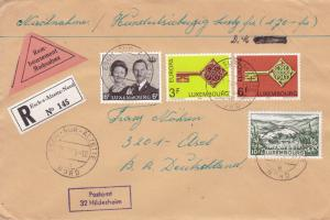 Luxembourg 1969 'Key'  Europa on Registered Cover to Germany Colorful Usage VF