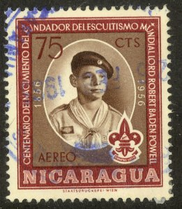 NICARAGUA 1957 75c LORD BADEN-POWELL BOY SCOUT Airmail Sc C384 VFU