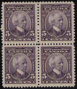 Canada - 1927 5c Sir Wilfred Laurier Block of 4 mint #144
