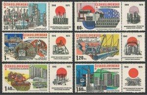 Czechoslovakia 2029-2034-label,MNH.Michel 2285-2290. Socialist contraction,1975.