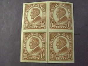 U.S.# 576-MINT/NH--IMPERFORATE/VERTICAL LINE BLOCK OF 4--HARDING---1925