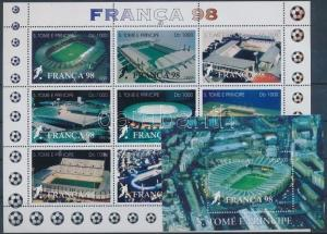 Sao Tomé e Príncipe stamp Football World Cup 1998 minisheet + block WS193023