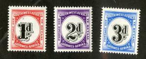 SOUTH WEST AFRICA J91-J93 MNH SCV $6.95 BIN $3.50 NUMERICAL DENOMINATION