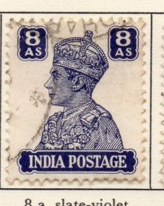 India 1940-43 GVI Early Issue Fine Used 8a. 026130