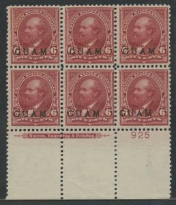 GUAM #6 6c 1899 BOTTOM PL BLK/6 F-VF OG NH SLIGHT TROPICAL OG CV $1,500+ WLM6380