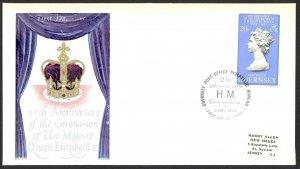 Guernsey Sc# 163 FDC 1978 5.2 Coronation 25th