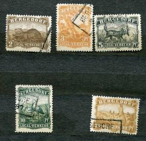 Germany Bergedorf 1887 Mi 2-6 Used Complete Set Local Privat Fauna