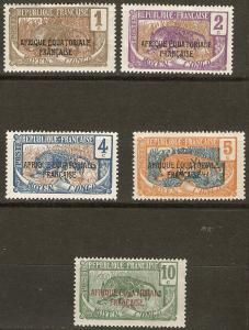 Middle Congo 5 Different  Mint F/VF 1924 SCV $9.70
