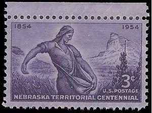 #1060 3c Nebraska Territory Centenary 1954 Mint NH