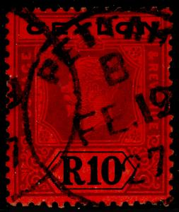 CEYLON SG318b, 10r Purple & Black Red DIE II, FINE USED CDS. Cat £180.