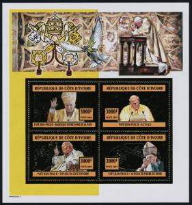 Ivory Coast gold foil s/s MNH Pope John Paul II, UN, Architecture