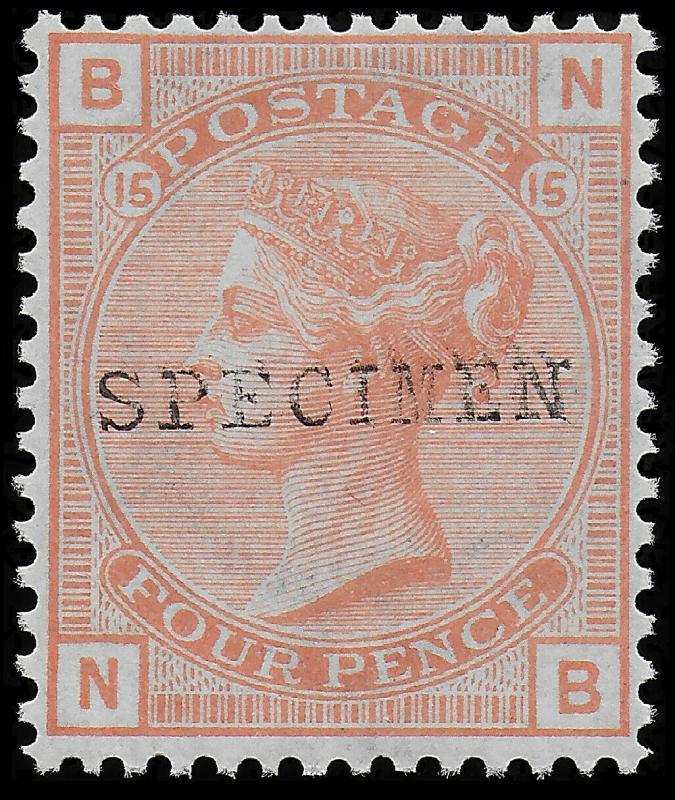 Victoria SG152 PL 15 1876 4d Vermilion Ovp 'Specimen' Type 9 UNMOUNTED Mint O.G.