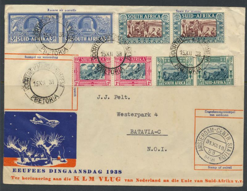 Aviation  First Flight Cover KLM  DEC 1938 flight Netherlands Pretoria Amster...