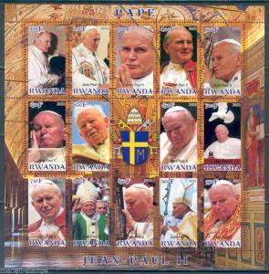 RWANDA 2012 POPE JOHN PAUL II SHEET OF FOURTEEN  MINT NH