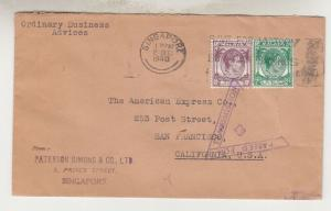 STRAITS SETTLEMENTS, 1940 censored cover to USA, KGVI 2c. Green, 10c. Purple.