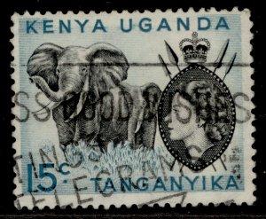 KENYA UGANDA TANGANYIKA QEII SG169a, 15c black & light blue, FINE USED.