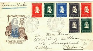 NETHERLANDS First Day Cover *JAN VAN RIEBEECK* FDC South Africa 1952 SQ9